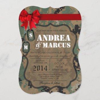 5x7  marine digital uniform cam wedding invitation