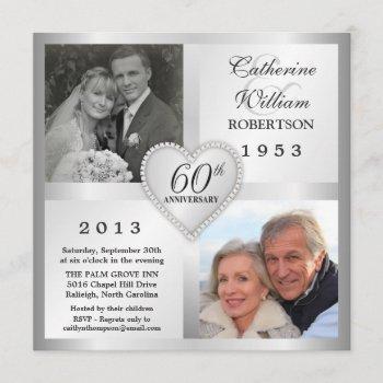60th silver anniversary heart photo invitations