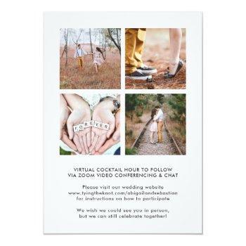 Small 7 Photo Online Virtual Wedding Ceremony Elegant Invitation Back View