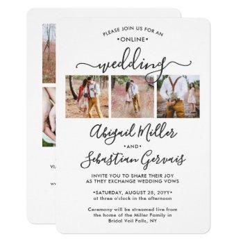 7 photo online virtual wedding ceremony elegant invitation