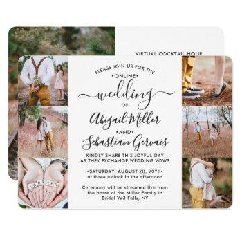 7 photo virtual wedding livestream online ceremony invitation