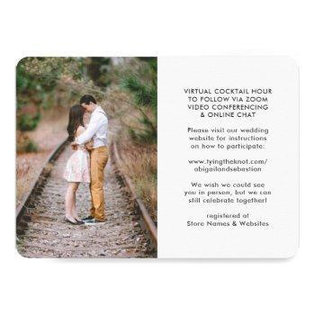Small 7 Photo Virtual Wedding Livestream Online Ceremony Invitation Back View