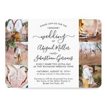 7 photo virtual wedding livestream online ceremony invitation