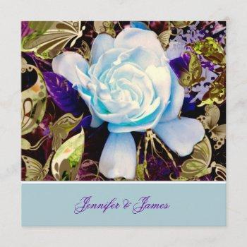 a blue gardenia wedding invitation
