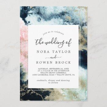 abstract celestial watercolor the wedding of invitation