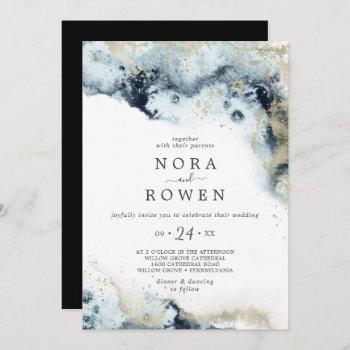 abstract navy watercolor casual wedding invitation