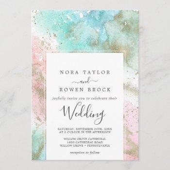 abstract summer watercolor wedding invitation