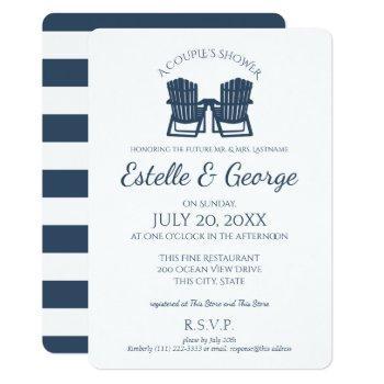 adirondack chairs couple's shower invitation
