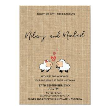 adorable cute funny cartoon sheep in love burlap invitation