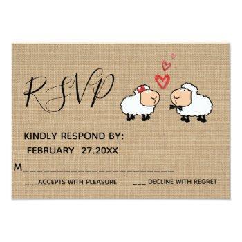 adorable cute funny cartoon sheep in love rspv invitation