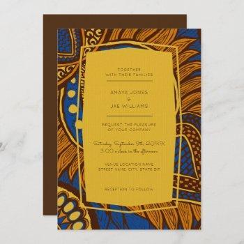 african ankara blue floral wedding invitation
