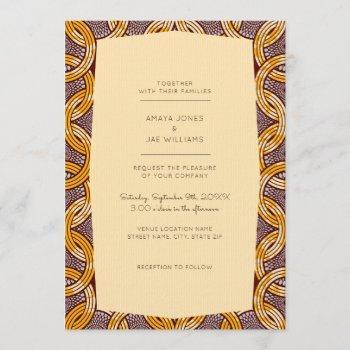 african ankara kitenge gold wedding invitation