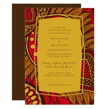 african ankara red floral wedding invitation