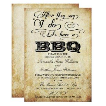 after they say i do, lets have a bbq! - vintage invitation