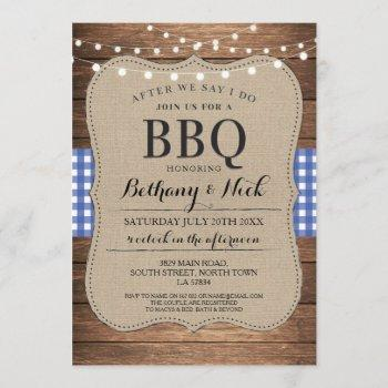 after we say i do bbq rustic blue lights invite