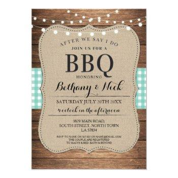 after we say i do bbq rustic mint lights invite