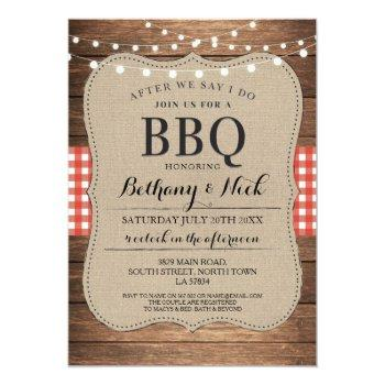after we say i do bbq rustic red lights invite