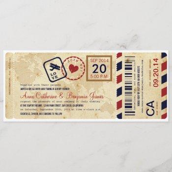 airline boarding pass ticket wedding invitation