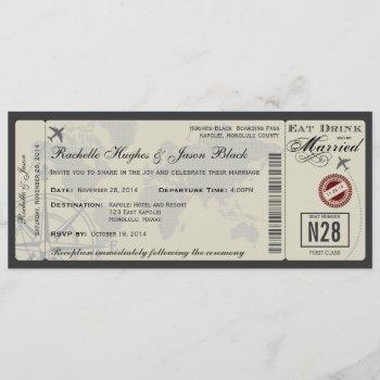 airline ticket wedding invitation