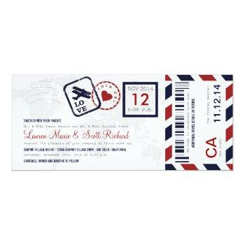 airmail boarding pass ticket wedding invitation