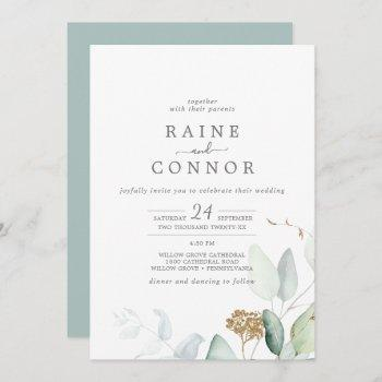 airy greenery and gold leaf all in one wedding invitation