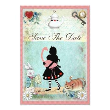 alice, flamingo & cat save the date wedding invitation