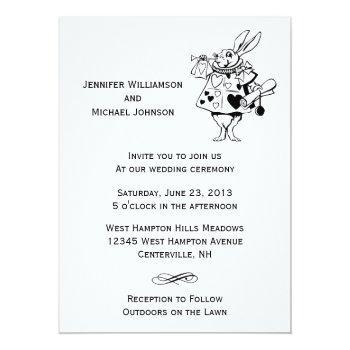 alice in wonderland #2 black white modern wedding invitation