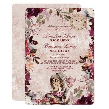 alice in wonderland elegant vintage border wedding invitation
