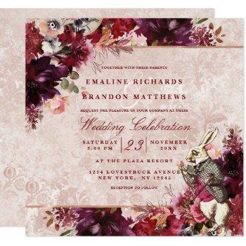 alice in wonderland elegant vintage wedding square invitation