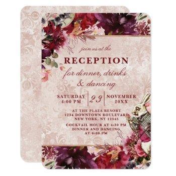 alice in wonderland elegant wedding reception invitation