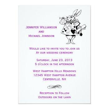 alice in wonderland fairytale modern wedding invitation