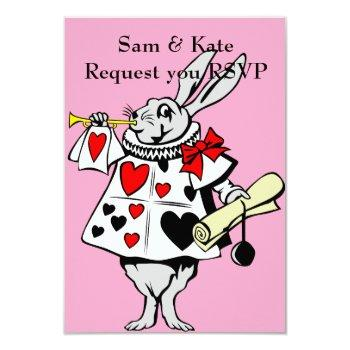 alice in wonderland rabbit wedding invitation