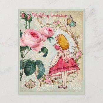 alice in wonderland roses collage wedding invites