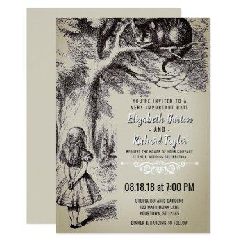 alice in wonderland vintage wedding invitation