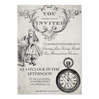 Small Alice In Wonderland Wedding Invitation Back View