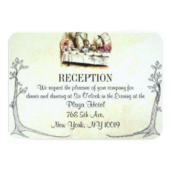 alice in wonderland wedding reception card
