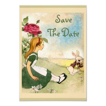 alice in wonderland wedding save the date invitation