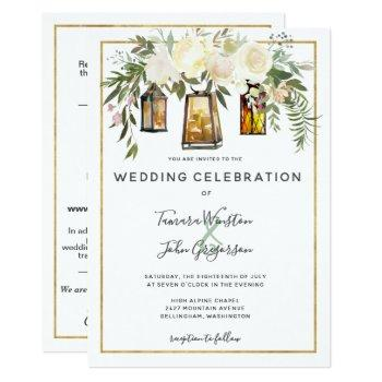 all in one white peonies rustic gold lanterns invitation