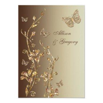 amber, brown floral butterflies wedding invitation