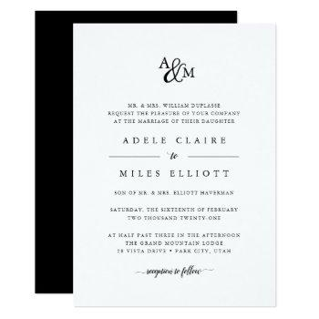ampersand monogram wedding invitation