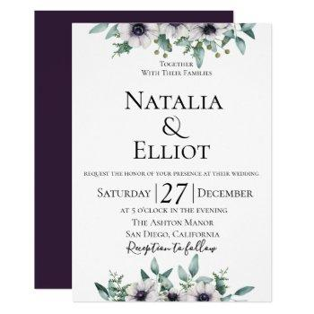 anemone eucalyptus wedding invitation
