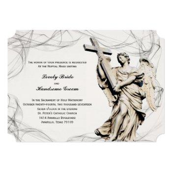 angel cross catholic wedding invitation