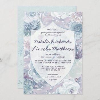 annabelle vintage blue floral crest wedding invitation