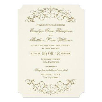 antique flourish vintage wedding ivory invitation