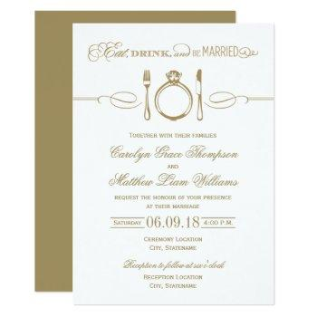 antique gold wedding | eat drink and be married invitation