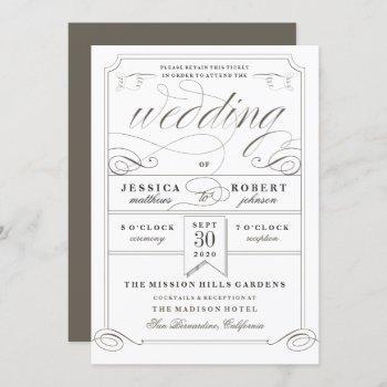 antique ticket vintage wedding invitation