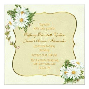 antique yellow with daisies wedding invitation