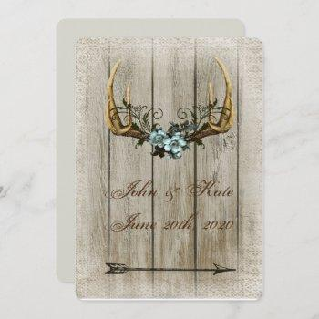 antlers and roses rustic wedding invitation
