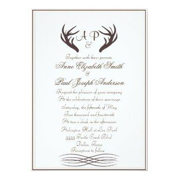 antlers rustic elegant wedding invitation white