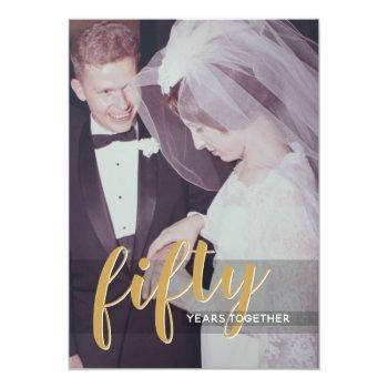 Small Any Year - 50th Wedding Anniversary & Photo Invitation Front View